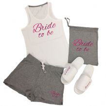 Wedding Vest Top & Shorts Pyjamas Set Hen Do Party Night Bride To Be Bridesmaid